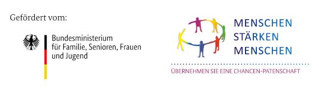 Logo vom Bundesministerium für Familie, Senioren, Frauen und Jugend mit dem Logo des Förderprogramms Menschen stärken Menschen